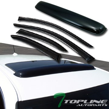 Topline Autopart Smoke Window Deflector Vent Shade Guard + Sunroof Moonroof Sun Moon Roof Visors 5 Pieces For 99-05 Volkswagen Jetta/Bora MK4 4 Door Sedan ()