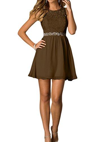 amp;Spitze Partykleid Linie Cocktailkleid Liebling Damen Chiffon Steine Ivydressing Abendkleid A Schokolade Brautjungfernkleider SWAH17wa