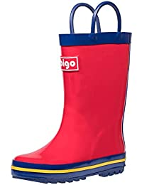 Kids Natural Rubber Rain Boots with Handles Easy for Little Children & Toddler Boys Girls, Solid