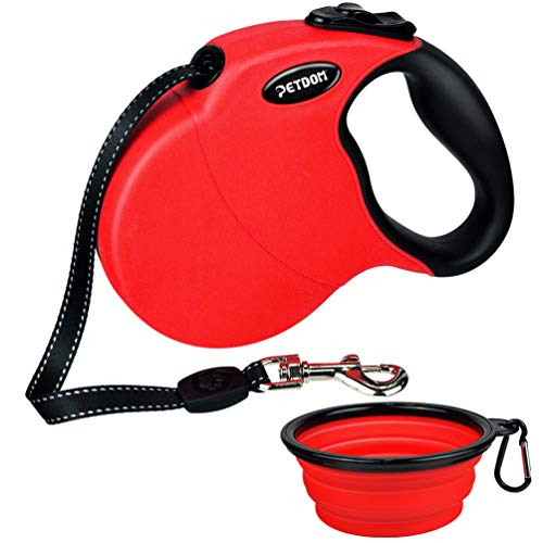 (PETDOM Retractable Dog Leash - 16ft Extendable Leash for Walking Dogs Up to 44 lbs - Tangle Free Reflective Tape with Soft Grip for Outdoor Walking (Red))