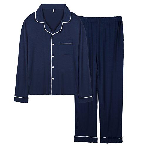 Classic Womens Pajama Set (FITIBEST Women Long Sleeve Pajama Set Comfortable Button Down Sleepwear Pajama Top and Pants (L, Dark Blue))