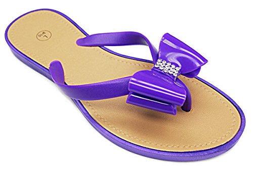 Embellished Strap with Bow Ladies Sandals Purple FyitsKfP