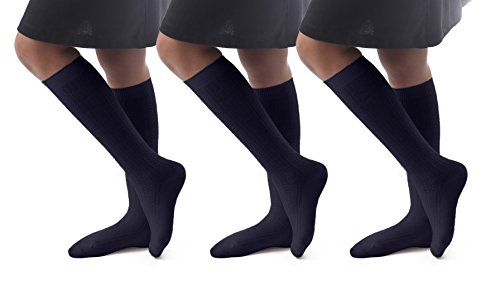 (Cable Knit Knee High Socks|High Cut Compression Socks For High School|3Pairs)