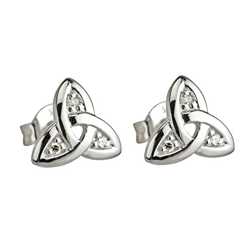 Or blanc 14 carats Diamant de la Trinité celtique de noeud celtique GoldStudEarrings Clous d'oreilles bijoux