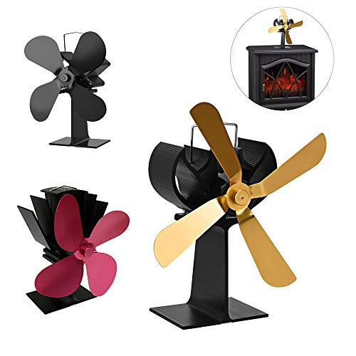 AFYH Fireplace Fan, Furnace Fan Heater Accessories, Oversize 4 Blades, Log Burner/Warm Air Circulation, Increase Indoor Temperature 80%,Brass -