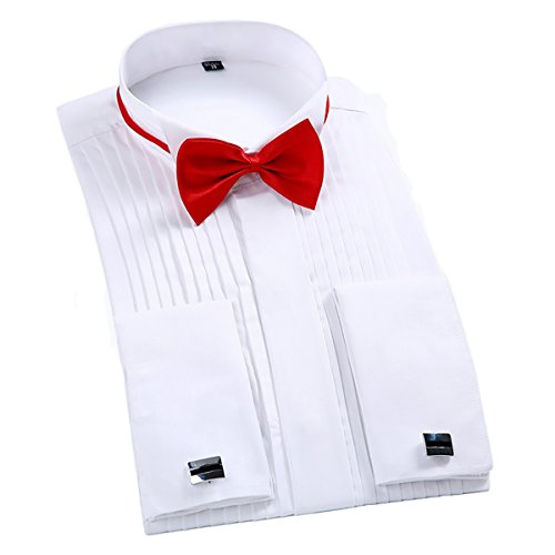 TAOBIAN Mens Pleated Tuxedo Shirt French Cuff Formal Dress Shirt Wing Tip Collar White US Medium ()