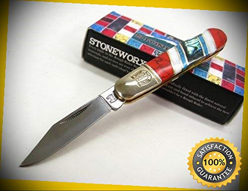 Turquoise Mother Of Pearl Stoneworx Barlow Lockback Sharp Knife 1164 perfect for outdoor camping hunting