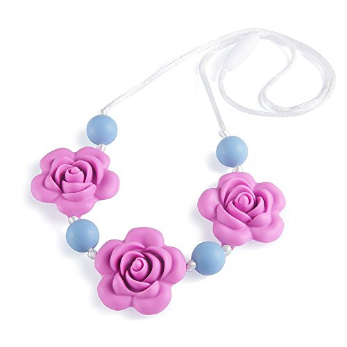 Silicone Teething Necklace - Baby Safe For Mom To Wear - BPA FREE Chew Beads - Stylish&Natural (PO)