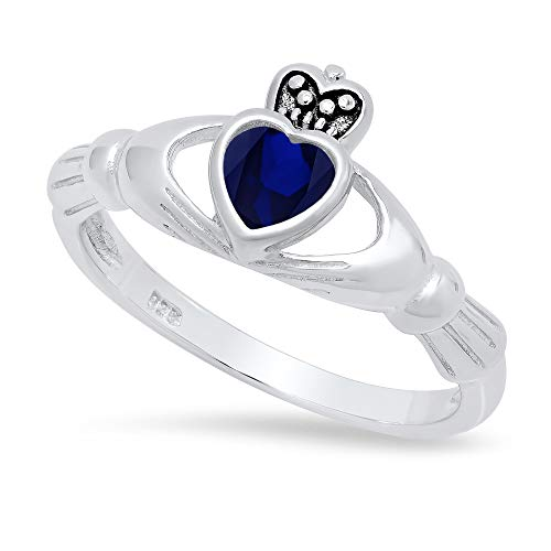 Sterling Silver Claddagh September Birthstone Blue Sapphire CZ Promise Ring 7 Made in Italy + Cloth