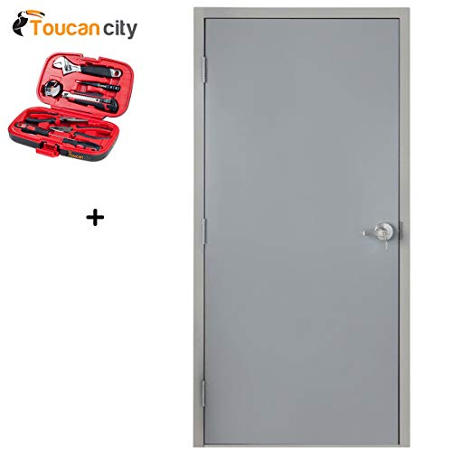 Toucan City Tool kit (9-Piece) and Armor Door 36 in. x 84 in. Fire-Rated Gray Right-Hand Flush Entrance Steel Prehung Commercial Door with Welded Frame and Hardware VSDFPWD3684ER