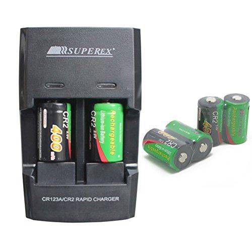 SUPEREX 6 PCS 3volt 400 mAh CR2 15270 Batteries + Car Charger Dual Rapid Rechargeable Battery Charger for 3V CR2 Lithium Batteries