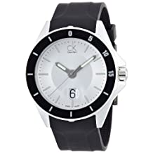 CK Sport Stainless Steel Case Rubber Bracelet Silver Tone Dial Magnified Date Display