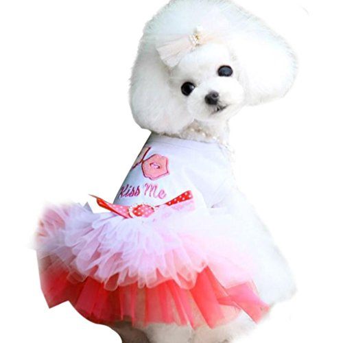 Costumes Velvet Princess Pink (2017 Hot Pet Dress! AMA(TM) Pet Puppy Small Dog Vest Princess Tutu Dress Bow Gauze Lace Skirt Doggy Clothes Apparel Costume (M,)