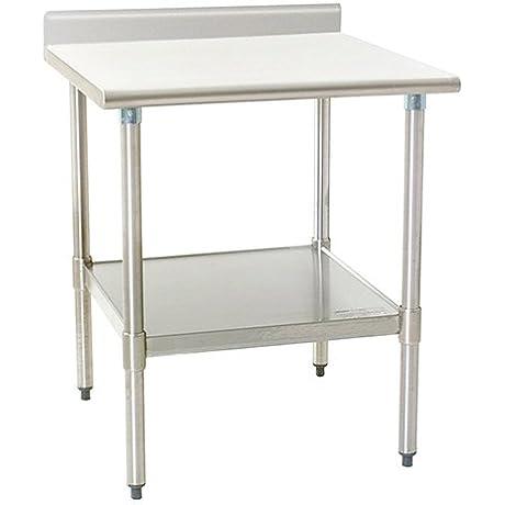Eagle T3036E BS Stainless Steel Work Table With Backsplash Galvanized Shelf Base 30 X 36 X 30