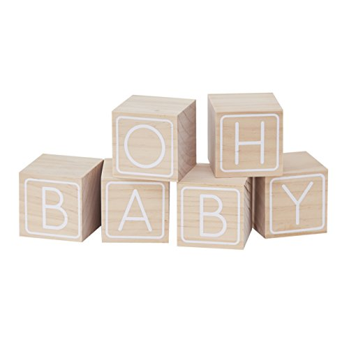 Ginger Ray OB-124 Wooden Oh Building Block Baby Shower Guestbook Keepsake-6 (6 (50th Anniversary Keepsake Plate)