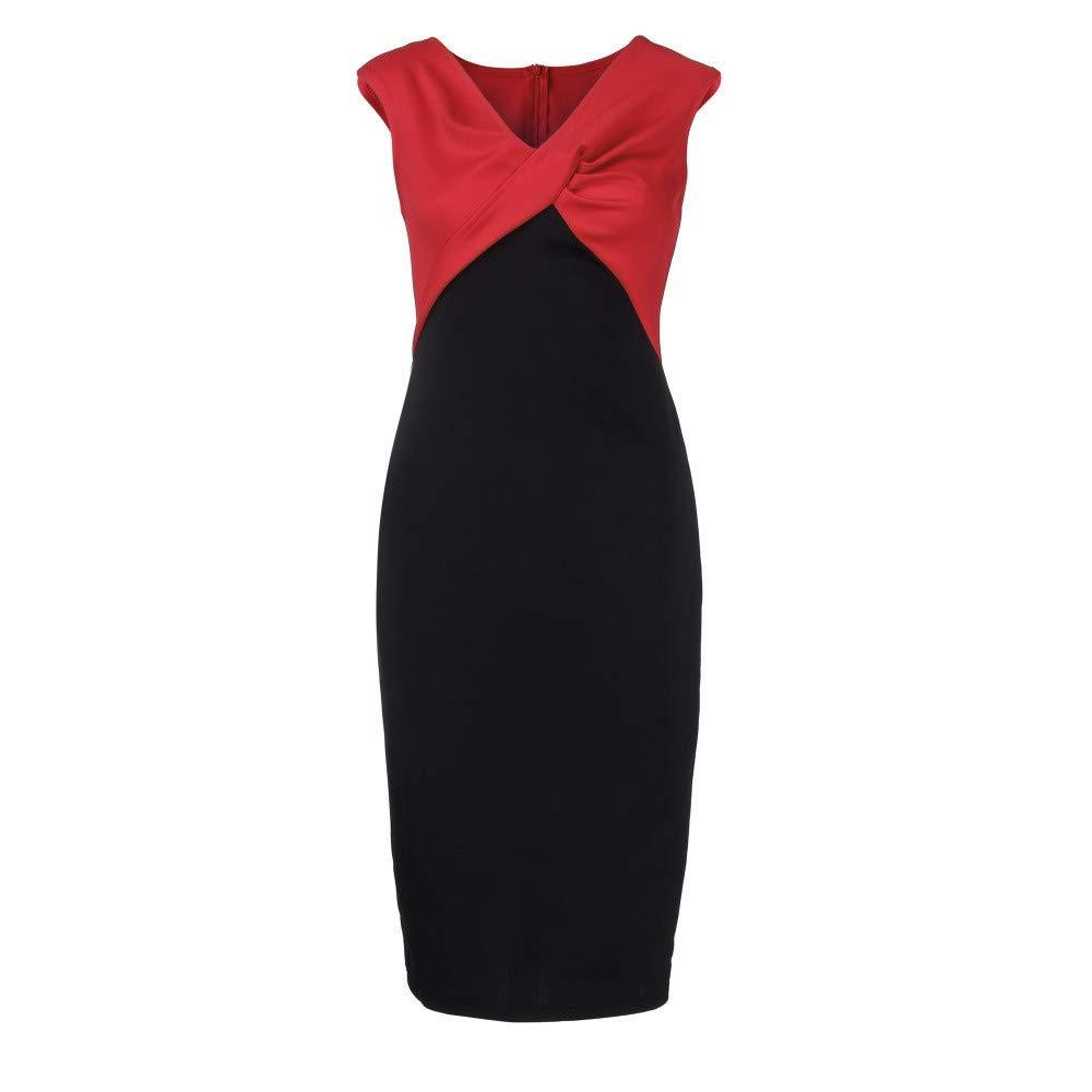 BAOHOKE Womens Plus Size Sleeveless Pencil Dress,Working Bodycon Wrap Dresses Skirts