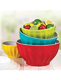 Bargain Melamine Mixing Bowl Set, 4 Bowls and 4 Lids. deliver
