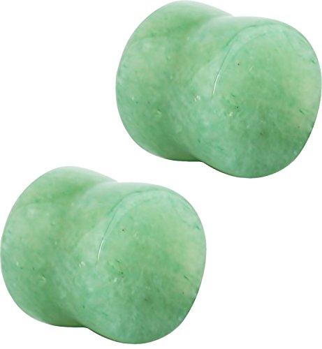Jade Ear Plugs - Jade Semi Precious Stone Solid Saddle Fit Plugs Ear Gauges - Choose from 12 sizes - Sold As Pair (3mm - 8GA)