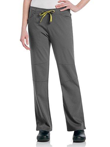 Urbane Women's Ultimate Silky Soft Stretch Medical Drawstring Scrub Pant, Steel/Yellow, X-Large Petite ()