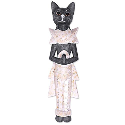 NOVICA Animal Themed Large Wood Wall Sculpture, Black, Royal Cat'