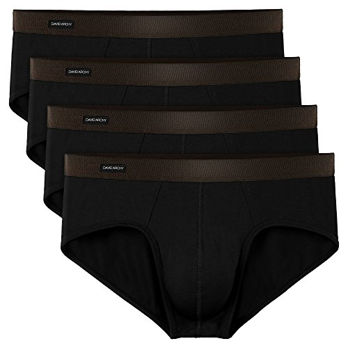 (David Archy Men's 4 Pack Bamboo Rayon Soft Lightweight Pouch Briefs No Fly (L, Black-N) )