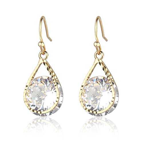 14K Yellow Gold Plated Teardrop Round Cut Cubic Zirconia Hook Drop Dangle Earrings For Party