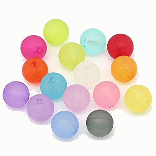 10 Mm Round Acrylic - Rockin Beads Mixed Frosed Acrylic Round Spacer Beads 10mm 190 Pack (1.5mm Hole)