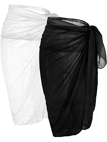 - Ayliss Womens Swimwear Chiffon Cover up Solid Color Beach Sarong Swimsuit Wrap (One Size, 2 Set-Black White)
