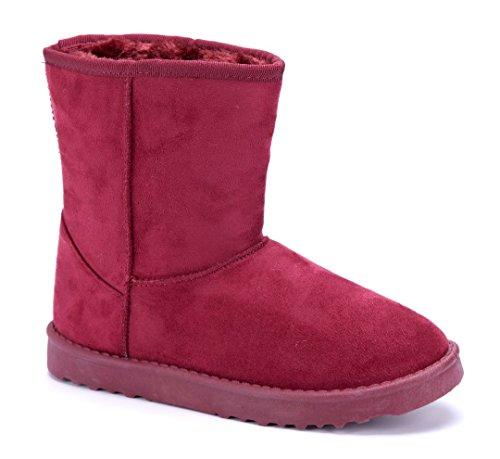 Schuhtempel24 Damen Schuhe Winterstiefeletten Stiefel Boots Flach Emu/Schlupf Rot