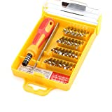 Yellow Carbon Steel + Plastic PP Special 32 in 1 Precision Hardware Screw Driver Tool Sets Portable Screwdriver Kit for Tablets and Mobile Phones, Laptops