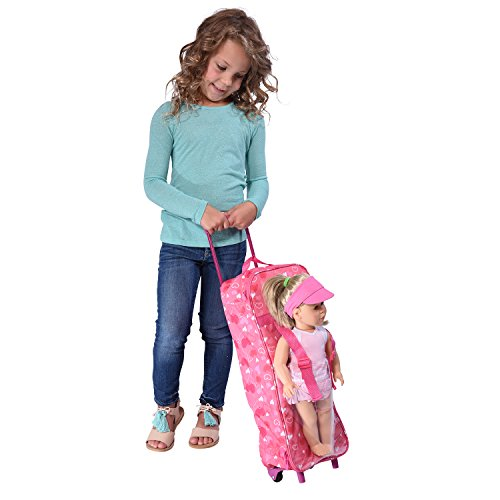 Doll Travel Case Suitcase Storage Bag with Sleeping Bag - Travel Suitcase with Sleeping Bag Fits 18 inch Dolls (Suitcase Doll)