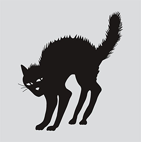 Scary Cat Halloween Black Vinyl Sticker Decals Car Truck Window Decor Ev14]()