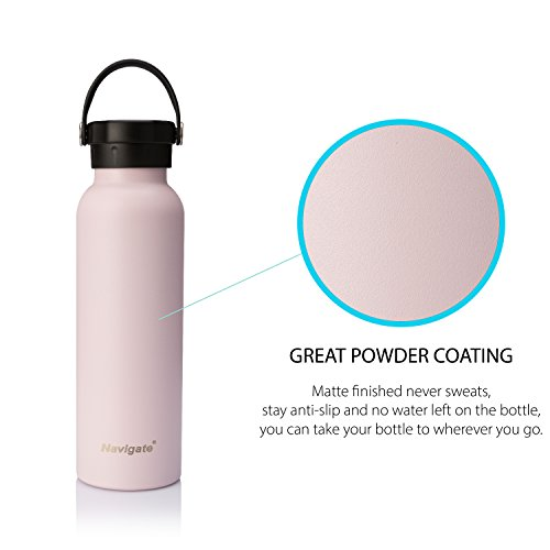 BOGI 20oz Insulated Water Bottle Double Wall Vacuum Stainless Steel Sports Water Bottle Leak Proof Standard Mouth with BPA Free Flex Cap for Outdoor Sports Climbing Camping Hiking 1 Cleaning Brush