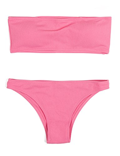 Pink Sexy Bikini Swimsuit Bandeau - HAHASOLE Womens Ribbed Bandeau 2 Way Wear Two Pieces Bikini Set Sexy Strapless Swimsuit (Pink, L)