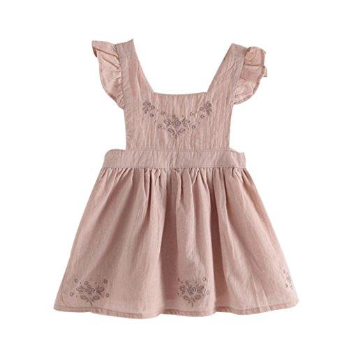 Winsummer Baby Girls Ruffle Jumper Dress Suspender Skirts Pinafore Toddler Dress Easter Outfits (Pink, 5T)