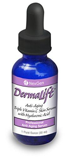 Dermalift - révolutionnaire Triple vitamine C Serum action biologique avec des ingrédients brevetée, y compris Super Concentré Acide Hyaluronique et puissant Exotique Complexe Anti-oxydant Superfruit! Dermalift utilise trois types active de la vitamine C