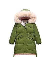 honuansortory Girl's Loose Hooded Down Jacket Kid's Thick Warm Down Coat Zipper Winter Overcoat for Children