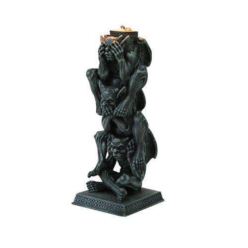 No Evil Gargoyle Statues (SEE HEAR SPEAK NO EVIL GARGOYLE STACKED UP CANDLE HOLDER STATUE FIGURINE premium decor collectible figurine)