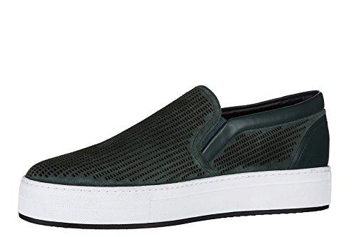 Armani Collezioni / Jeans Herren Leder Slip On Slipper Sneakers Grün