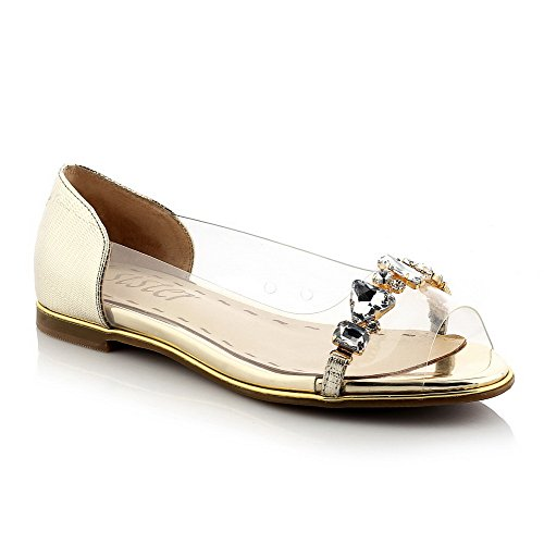 AllhqFashion Womens Solid Cow Leather Low-heels Open Toe Pull-on Sandals Gold ZDzV4NVAe