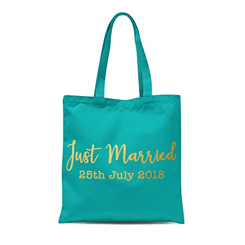 Bag Groom Print Emerald Just Personalised Honeymoon Married Date Bride Wedding Gold Tote With His Hers at6Ywq