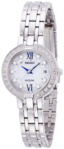 SEIKO EXCELINE Diamond Dial Watch Solar Curve Sapphire Glass SWCW083 Womens