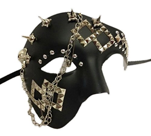Silver Spikes & Chains Black Steampunk Half Mask Men Costume Accessory