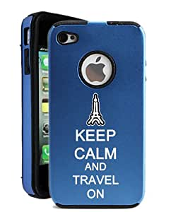SudysAccessories Keep Calm And Travel On iPhone 4 Case iPhone 4S Case - MetalTouch Blue Aluminium Shell With Silicone Inner Protective Designer Case