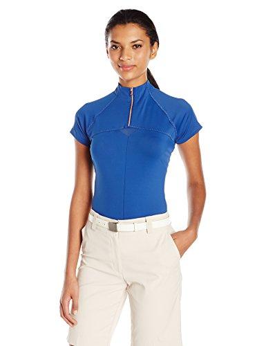 Cutter & Buck Women's Moisture Wicking, UPF 50+, Cap-Sleeve Above Board Mock Active Shirt, Nova, M (Board Above Womens)