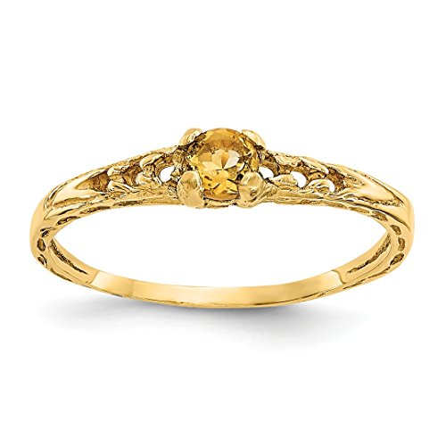 ICE CARATS 14kt Yellow Gold 3mm Citrine Birthstone Baby Band Ring Size 3.00 November Fine Jewelry Ideal Gifts For Women Gift Set From (Babys 14kt Gold Birthstone Ring)