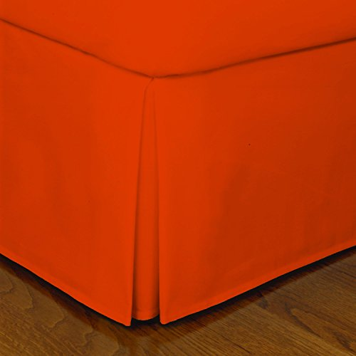Crescent Bedding Full Orange Pleated Bed Skirt Easy Care, Quadruple Pleated Design, Fabric Base Allows for Natural Draping, 15 Fall Covers Legs and Bed Frame (Full, Orange)