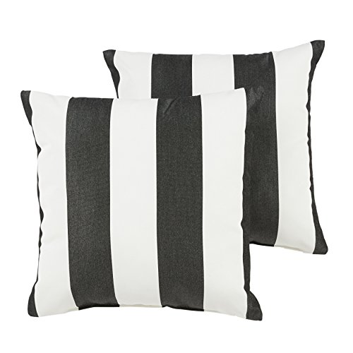 Pillow Stripe Cabana (Mozaic Company Sunbrella Indoor/Outdoor 16-inch Knife Edge Pillow, Cabana Classic, Set of 2)