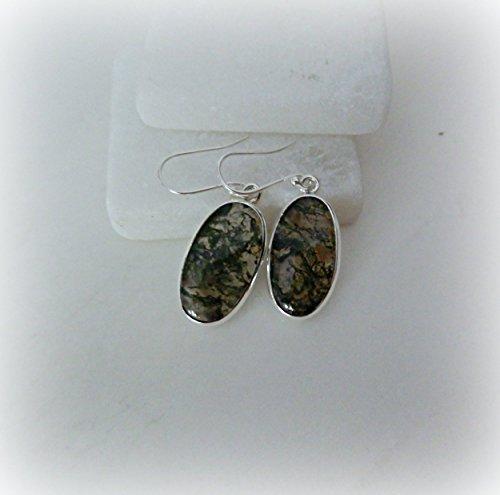 Moss Agate Earrings, Serling Silver Moss Agate Earrings, Genuine Moss Agate, Green Moss Agate Drop Earrings, Gemstone Appeal, GSA ()