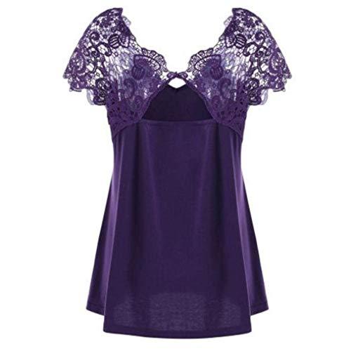 Magliette Chic Ragazza Sciolto Tempo Forti Pizzo Fashion Bluse Giuntura Taglie Tops Violett Corta Eleganti Estivi Shirts Libero Donna Manica Camicetta Neck V 7wZOnpUxRq